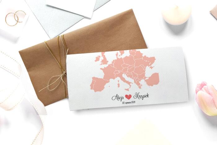 zaproszenie ślubne ze zdjęciem we wzorze mapki europy