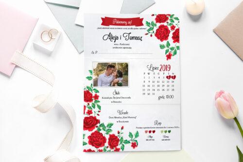 zaproszenie ślubne ze zdjęciem we wzorze czerwonych róż