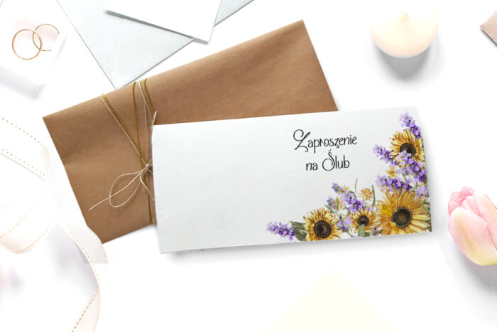 zaproszenie ślubne ze zdjęciem we wzorze słoneczników z lawendą