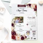 zaproszenie ślubne ze zdjęciem we wzorze bordowych kwiatów