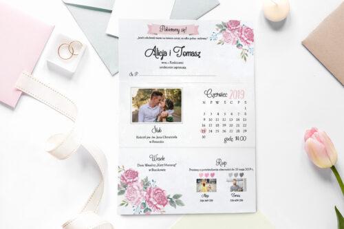 zaproszenie ślubne ze zdjęciem we wzorze różowych róż