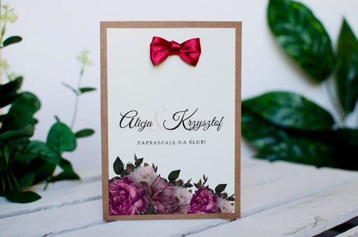 Zaproszenie ślubne BOHO z kokardką - Bordowe róże