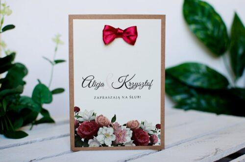 Zaproszenie ślubne BOHO z kokardką - Czerwono biały bukiet