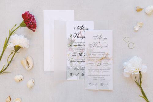 zaproszenie ślubne z kalką we wzorze białych róż