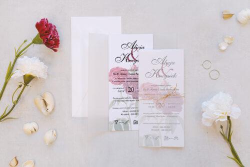 zaproszenie ślubne z kalką we wzorze bordowych róż