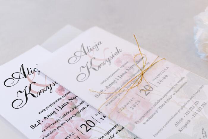 zaproszenie ślubne z kalką we wzorze róży