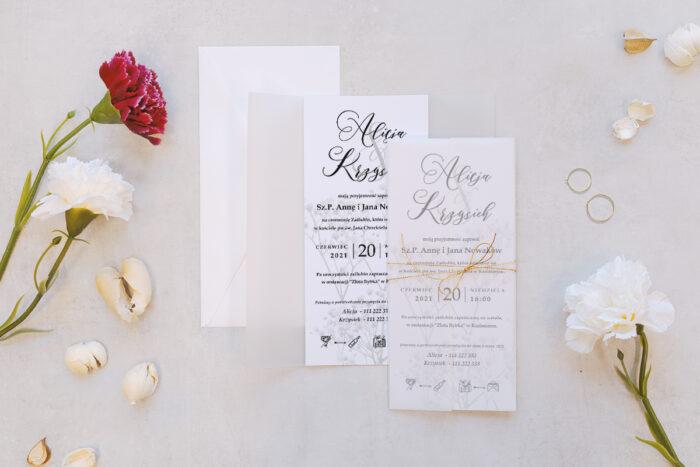 zaproszenie ślubne z kalką we wzorze kwiatu gipsówki