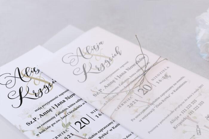 zaproszenie ślubne DL we wzorze margaretki