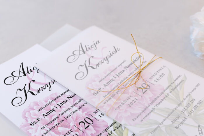 zaproszenie ślubne DL we wzorze różowej piwonii