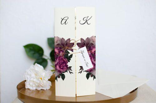 Zaproszenie ślubne Eleganckie - Bordowe Róże