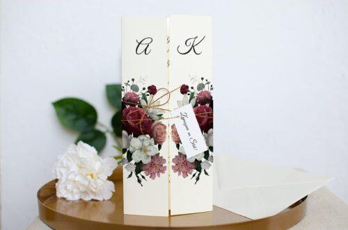 Zaproszenie ślubne Eleganckie - Czerwono biały bukiet