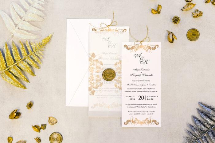 zaproszenie ślubne z lakiem bogato zdobione