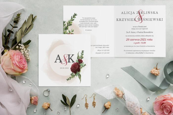 zaproszenie ślubne z bordową różą