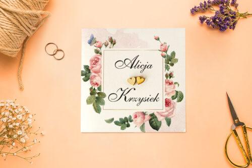 front zaproszenia róże i motyl