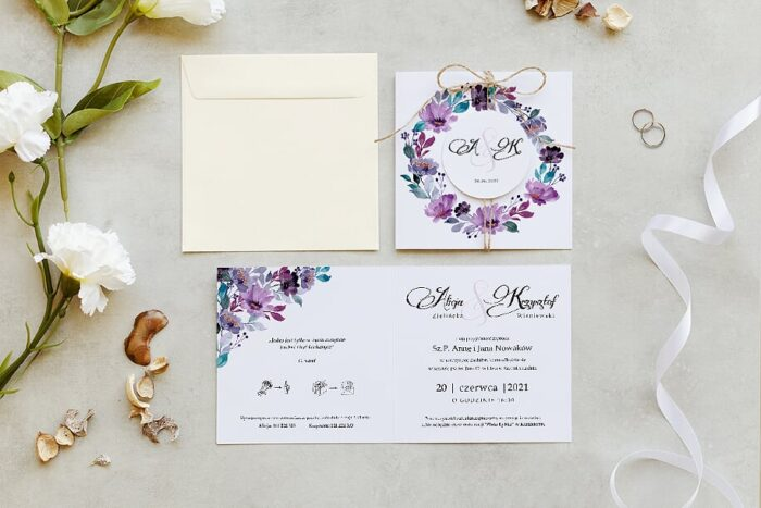 zaproszenie ślubne z kółeczkiem na sznurki jutowym we wzorze akwarelowych kwiatów