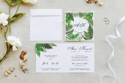zaproszenie ślubne z kółeczkiem na sznurki jutowym we wzorze zielonych paproci