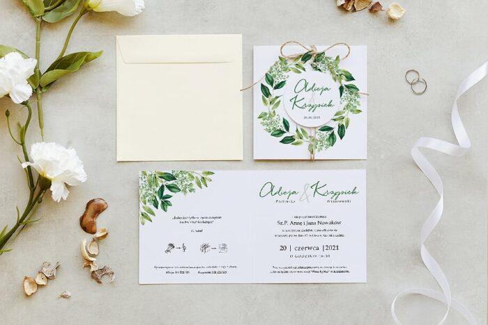 zaproszenie ślubne z kółeczkiem na sznurki jutowym we wzorze wianuszka z liści nuszek z liści