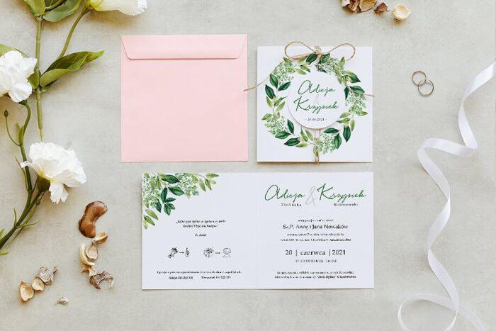 zaproszenie ślubne z kółeczkiem na sznurki jutowym we wzorze wianuszka z liści
