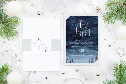 Eleganckie zaproszenie ślubne Zimowe - Gwieździsta noc