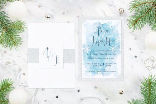 Eleganckie zaproszenie ślubne Zimowe - Niebieska akwarela