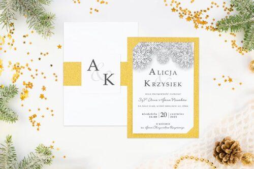 Eleganckie zaproszenie ślubne Zimowe - Białe śnieżynki
