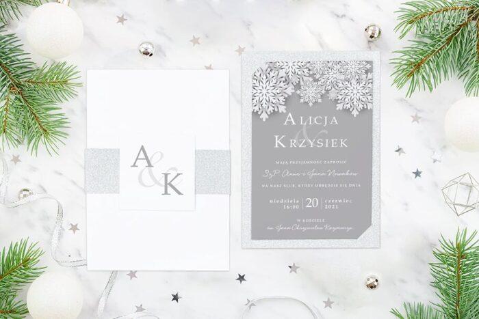 Eleganckie zaproszenie ślubne Zimowe - Zimowe śnieżynki