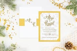 eleganckie-zaproszenie-slubne-zimowe-zlote-szyszki-papier-matowy-podkladki--koperta-bez-koperty-szarfa-brokatowa-