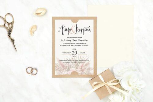 zaproszenie ślubne we wzorze kremowego bukietu
