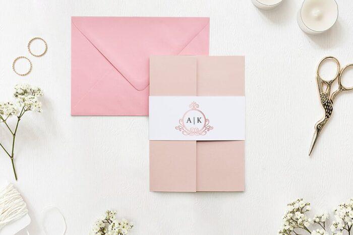 Zaproszenie ślubne - Ornamentowe z szarfa - Różowa secesja