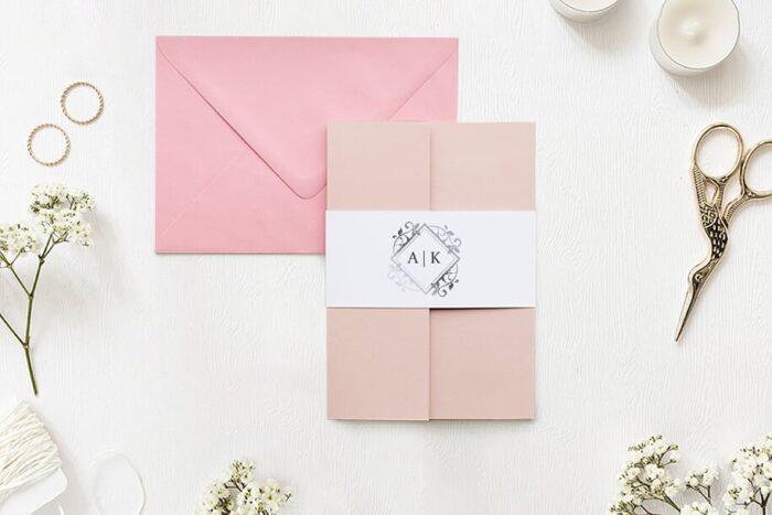 Zaproszenie ślubne - Ornamentowe z szarfa - Akcent