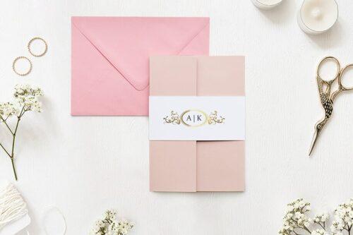 Zaproszenie ślubne - Ornamentowe z szarfa - Złota elipsa