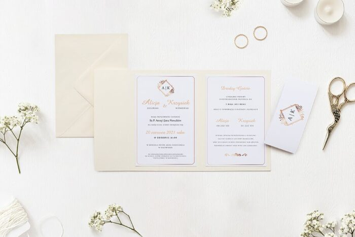 Zaproszenie ślubne w folderze - Ornamentowe z szarfa - Miedziany motyw