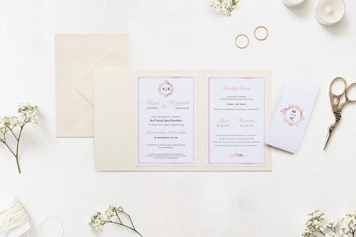 Zaproszenie ślubne w folderze - Ornamentowe z szarfą - Różowe zdobienie