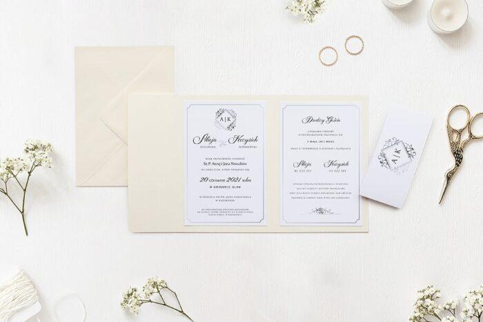 Zaproszenie ślubne w folderze - Ornamentowe z szarfą - Srebrny akcent