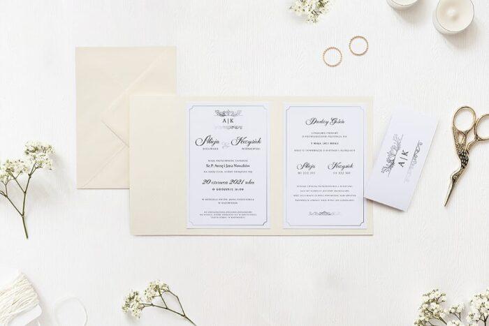zaproszenie ślubne ornamentowe z szarfą we wzorze antycznym