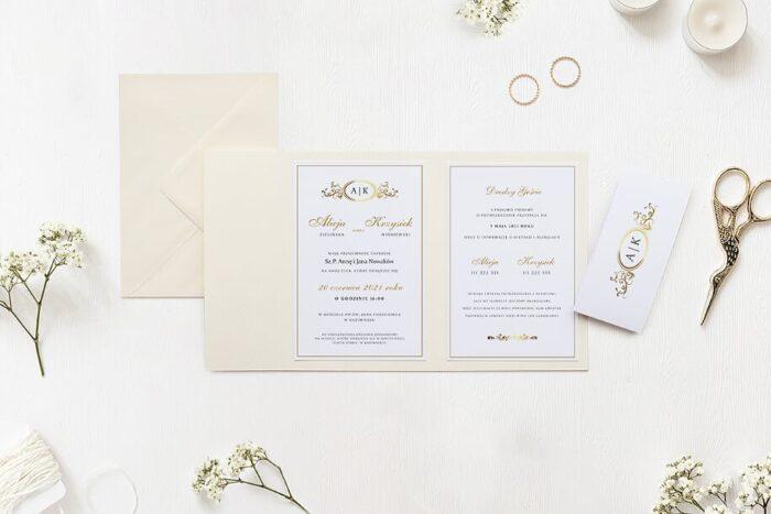 zaproszenie ślubne ornamentowe z szarfą we wzorze złotej elipsy