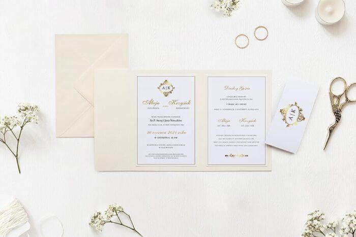 zaproszenie ślubne ornamentowe z szarfą we wzorze złotej finezji