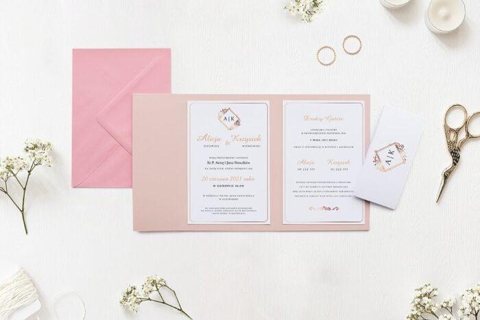 Zaproszenie ślubne - Ornamentowe z szarfa - Miedziany motyw