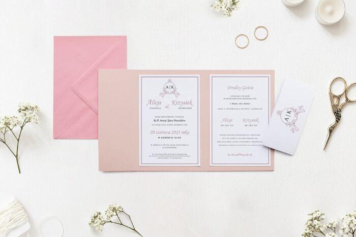Zaproszenie ślubne w folderze - Ornamentowe z szarfą - Pudrowe gałązki