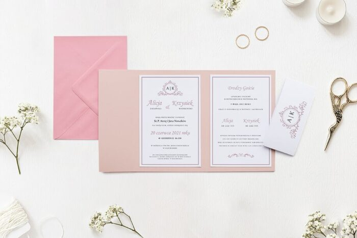 Zaproszenie ślubne w folderze - Ornamentowe z szarfą - Pudrowy róż