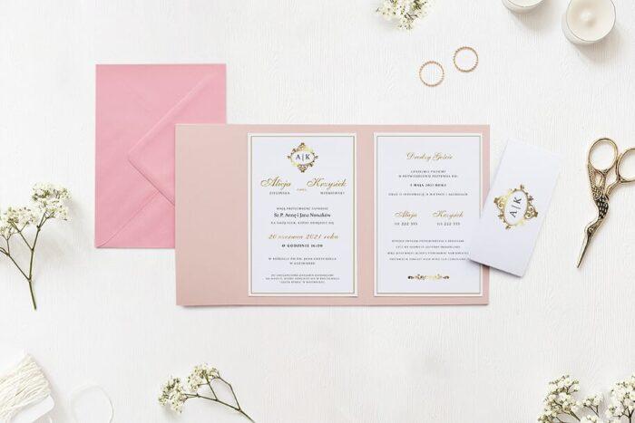 Zaproszenie ślubne w folderze - Ornamentowe z szarfą - Srebrny antyk