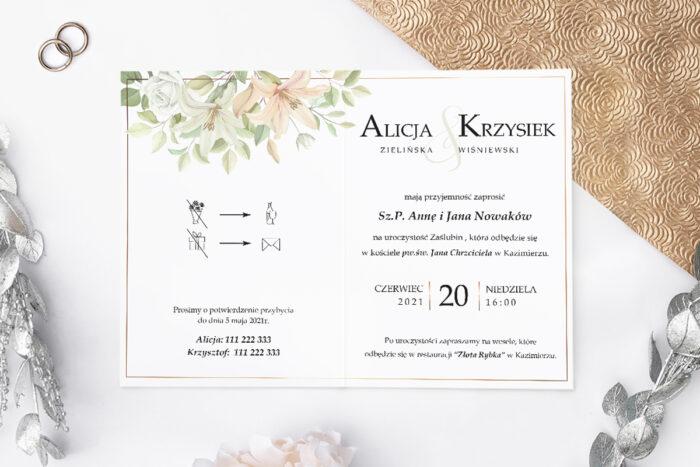 zaproszenie ślubne z bukietem lilii