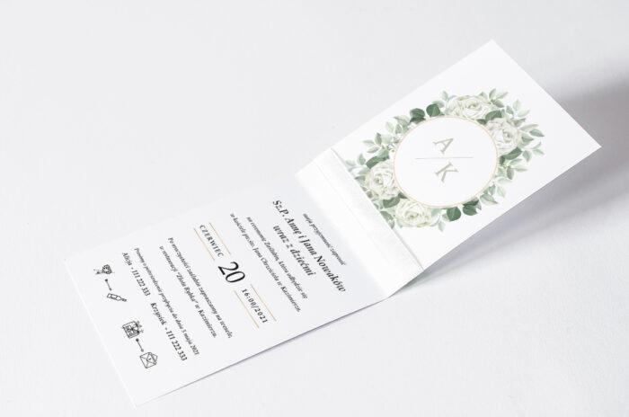 zaproszenie ślubne ze wstążką we wzorze białych róż