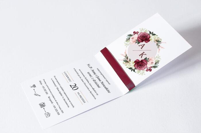 zaproszenie ślubne ze wstążką we wzorze bordowego bukietu kwiatów