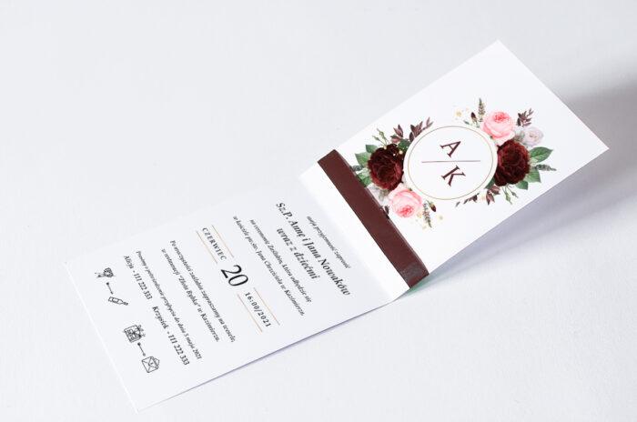 zaproszenie ślubne ze wstążką we wzorze bukietu z róż
