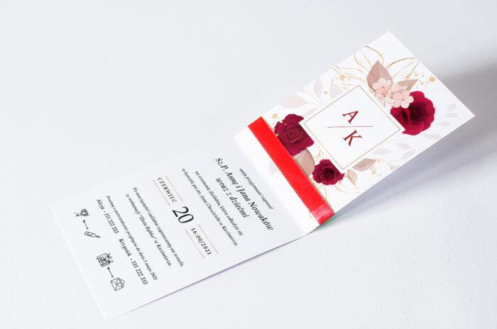 zaproszenie-slubne-pionowe-ze-wstazka-czerwone-roze-srodek