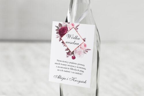 Zawieszka na alkohol do zaproszenia Geometryczne Kwiaty - Amarantowy bukiet
