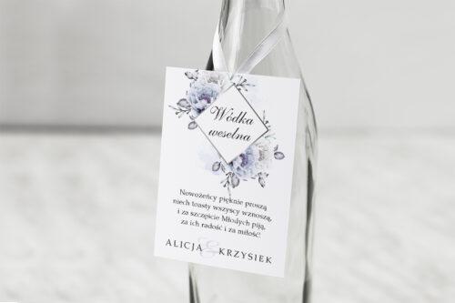Zawieszka na alkohol do zaproszenia Geometryczne Kwiaty - Błękitne kwiaty