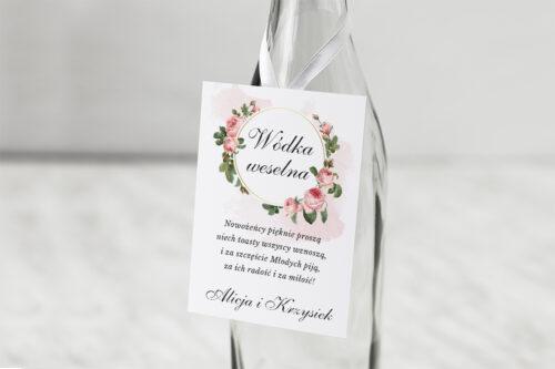 Zawieszka na alkohol do zaproszenia Geometryczne ze zdjęciem - Różowe Różyczki