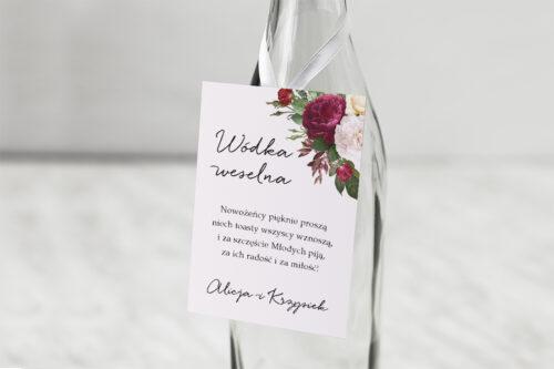 Zawieszka na alkohol do zaproszenia Eleganckie kwiaty - Bordowe róże